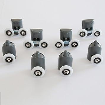 kit 8 pices roulettes remplacement douche pour verre porte coulissante mix 1