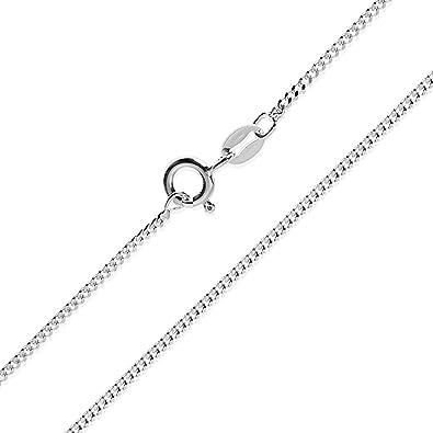 9cf6108eb5a0 Collar cadena pulsera tobillera Tipo Barbada Panzer corte de diamante de  fina plata de ley 925 1mm Bisutería Italiano Mujer Hombre - 15 20 25 30 35  40 45 50 ...