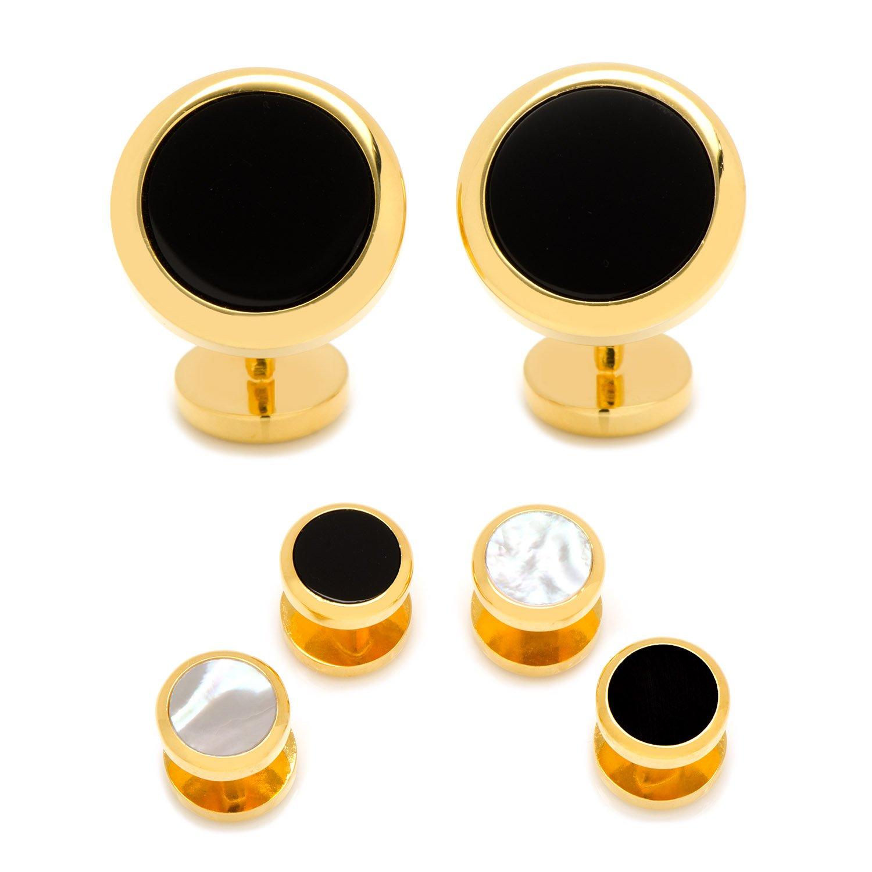 CUFFLINKS INC Double Sided Gold-Tone Onyx Round Beveled Stud Set (Black)