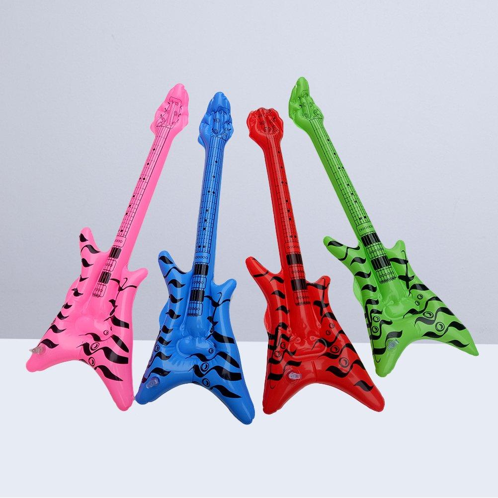 STOBOK Guitarra eléctrica Inflable 12P para Swimmig Pool Beach Parties cumpleaños Favores de Fiesta (Amarillo Azul Rosa Verde): Amazon.es: Hogar