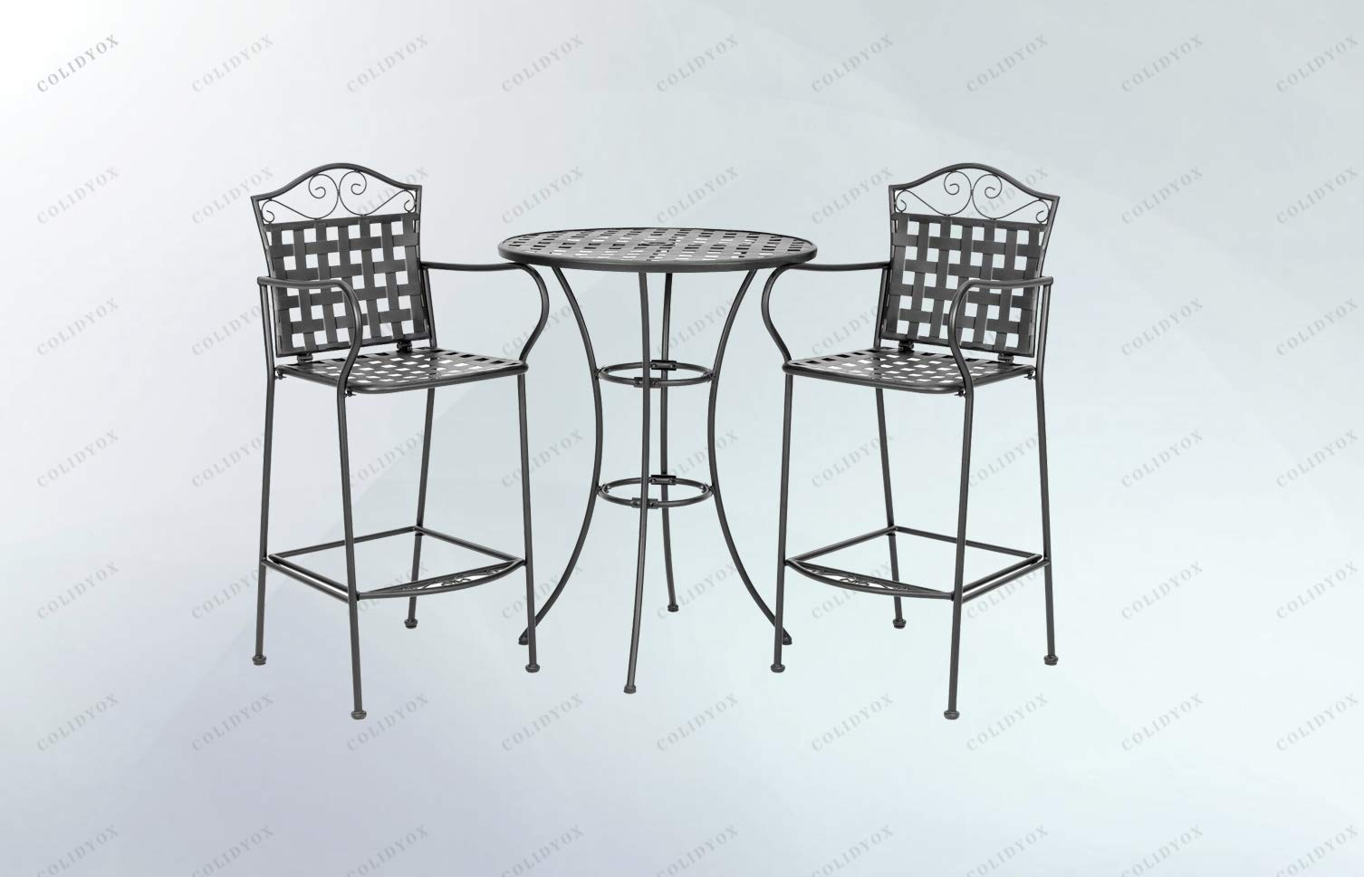 COLIDYOX>>>3-Piece Woven Pattern Wrought Iron Patio Bar Height Bistro Table Beautifully Designed and Built with a Solid and Decorative Wrought Iron Frame, It's Sure to Bring a Warm and invitin