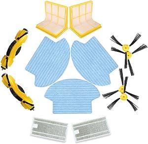 Liectroux Spare Parts for B6009 Robotic Vacuum Cleaner, Side Brush4pcs, HEPA Filter2pcs, 3D Filter2pcs, CentraL Brush2pcs, Mop3pcs