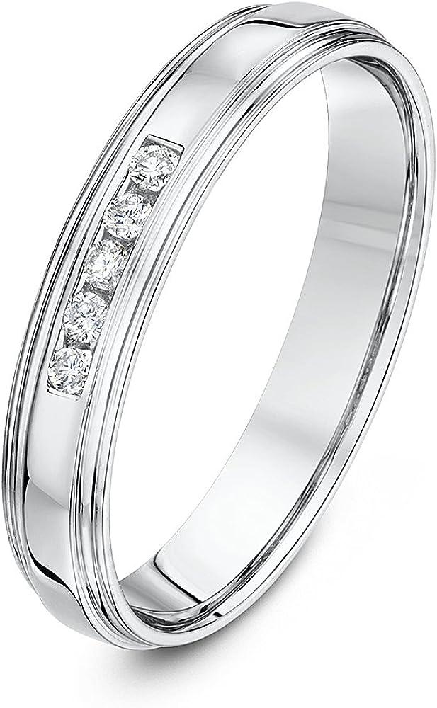 Theia Anillo de Boda en Oro Blanco de 9k de 4 mm, Forma de Corte con Montura en Canal de Diamante Redondo de 0,1 ct