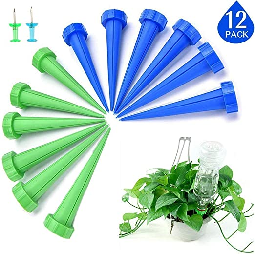 ECHG 12 estacas automáticas de riego de plantas, sistema de riego por goteo para jardín, hogar, interior, exterior (incluye 2 pasadores): Amazon.es: Jardín
