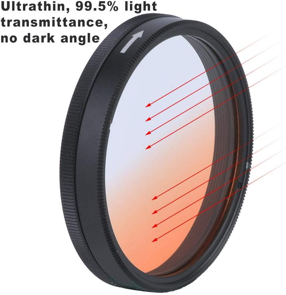 Gradient red Serounder Universal Camera Lens Filter,Aluminium Watreproof Graduated Colorful Neutral Density Multi-Layer Coating Optical Lens Filter,for OSMO//INSPIRE1 Photography Video Filming
