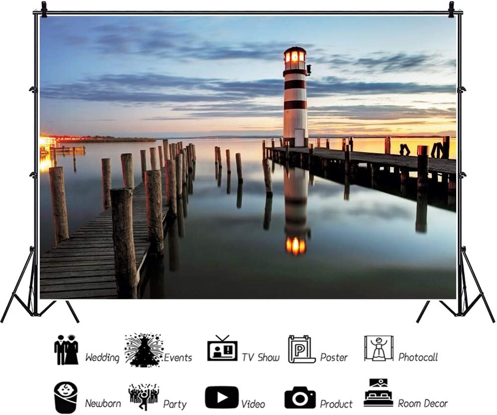 YEELE 10x8ft Sea View Photography Backdrop Lighthouse at Night in Austria Background Europe Vacation Kid Adult Portrait Photoshoot Studio Props Summer Holiday Tourism Wedding Wallpaper
