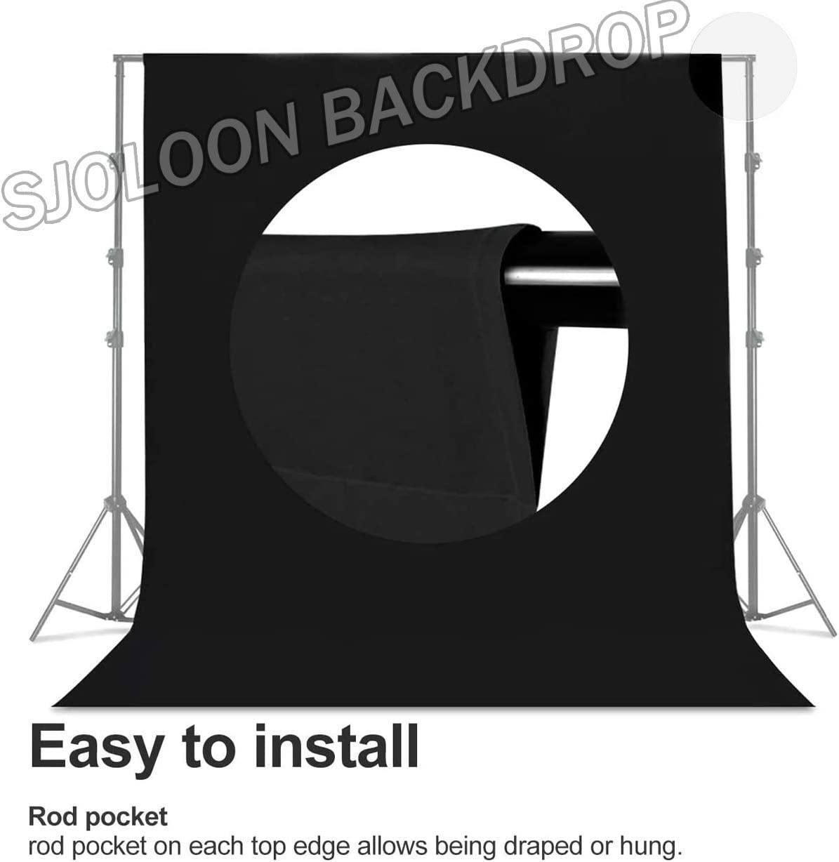 SJOLOON 5x7FT Black Studio Photography Backdrop Collapsible Backdrop Muslin Backdrop for Television Video Photography