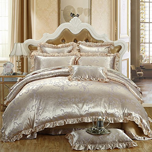 TheFit Paisley Textile Bedding for Young Adult W152 Luxury Baroque Boho Duvet Cover Set 100% Silk and Cotton, Queen King Set, 4 Pieces (Baroque Comforter Set)