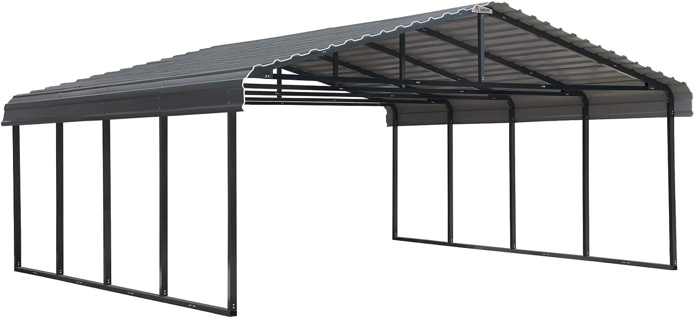 Arrow 20' x 20' 29-Gauge Metal Carport with Steel Roof Panels, 20' x 20', Charcoal