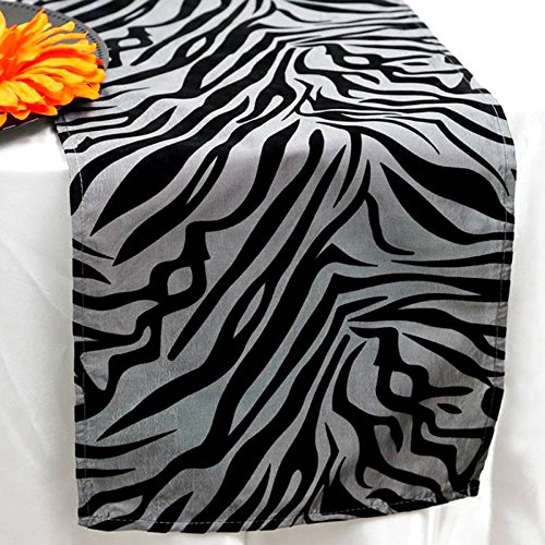 BalsaCircle 12 x 108-Inch Black on Silver Safari Animal Print Zebra Table Top Runner - Wedding Party Reception Linens Decorations