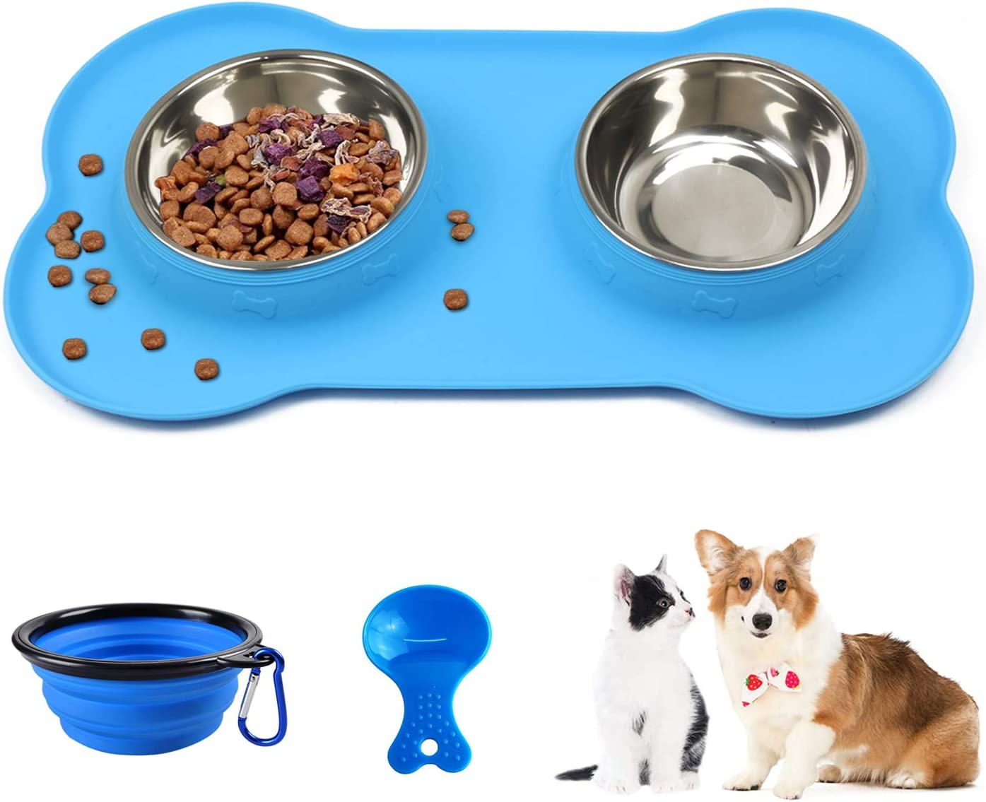 Linifar Double Dog Bowl, 14 oz Stainless Steel Dog Food and Water Bowl Food Scoop Pet Feeder Dish with Non Spill Skied Silicone Mat for Puppy Cats Small Medium Dogs