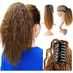 Beauty Angelbella 15'' Claw Ponytail Clip in Hair Extensions Long Yaki Curly Synthetic Hairpiece 80g with Jaw Clip (4-30#)