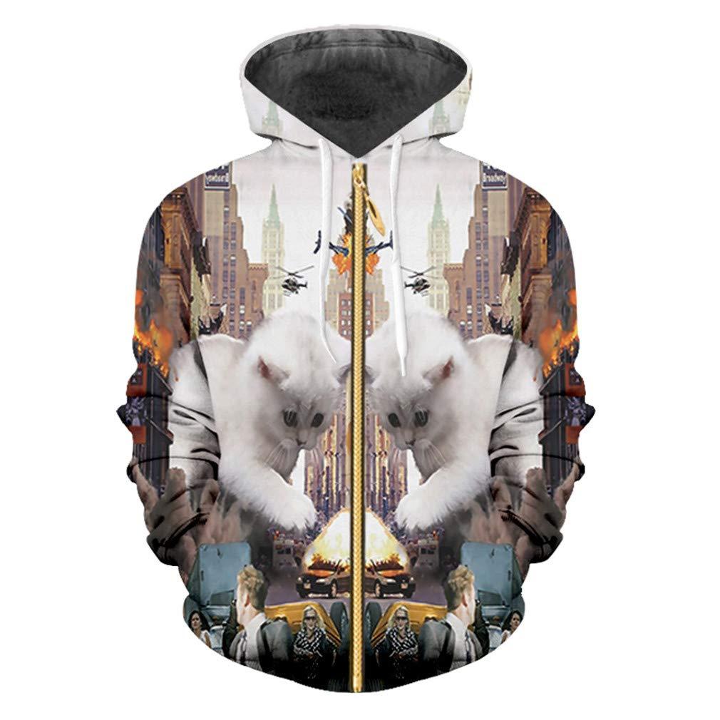 Spring Fall Women//Mens 3D Print Colorful Cat Zip Hoodies Animal Sweatshirt Unisex Hooded Hoody Jackets 6XL