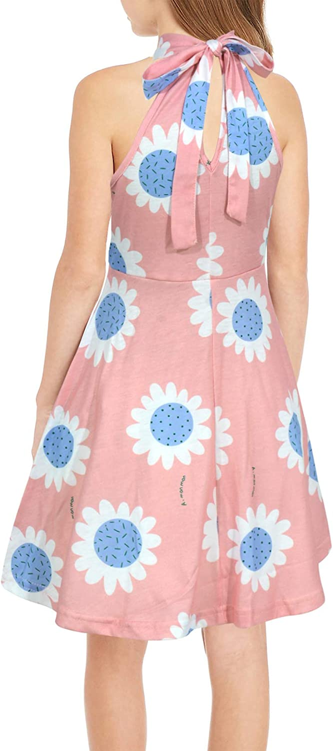 GORLYA Girls Halter Neck Cold Shoulder Sleeveless Summer Casual Sundress A-line Dress with Pockets for 4-12 Years