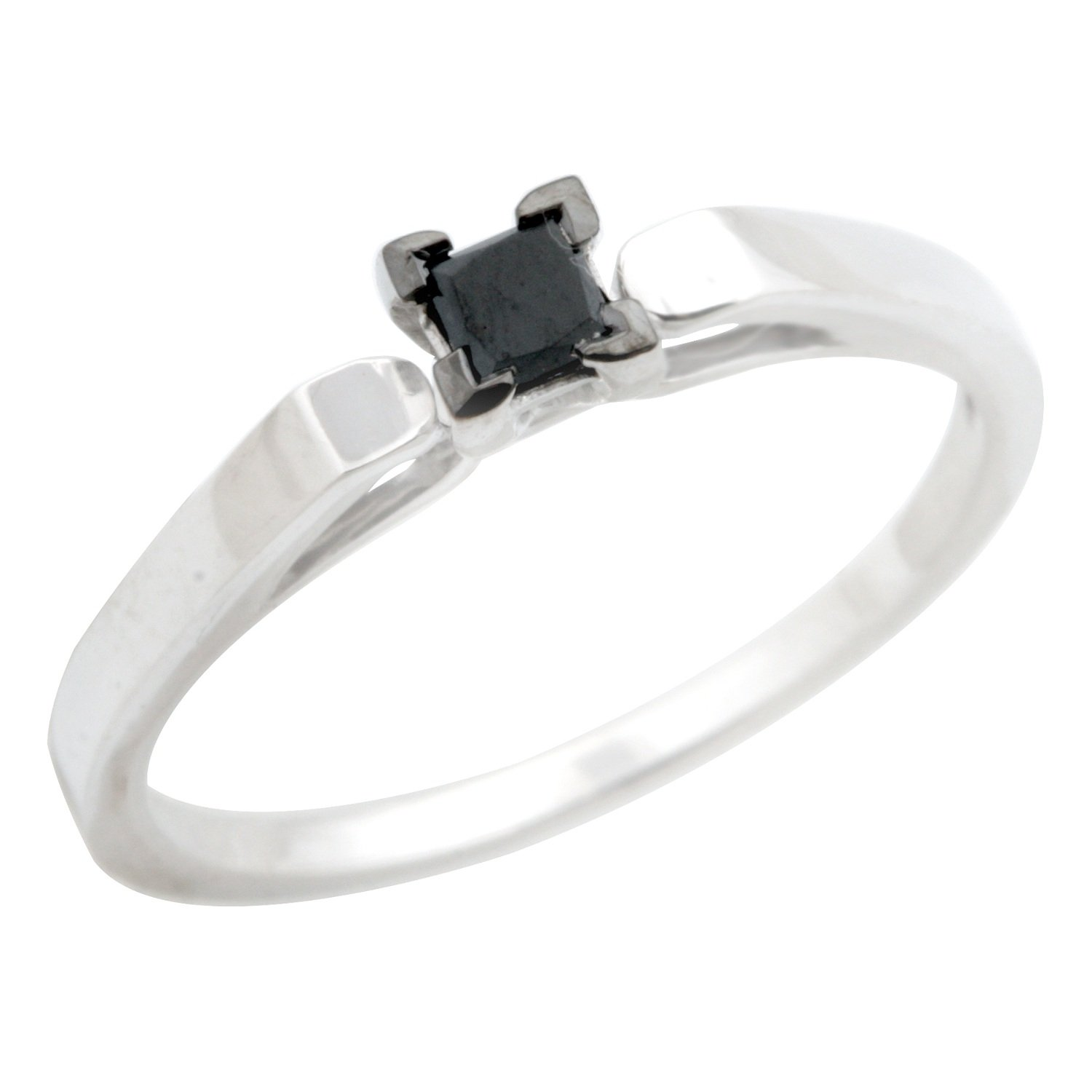 Prism Jewel Princess Black Diamond Solitaire Engagement Ring 925 Sterling Silver