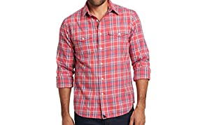 UNTUCKit Ojai Untucked Shirt for Men, Red White and Navy Plaid, 100% Cotton