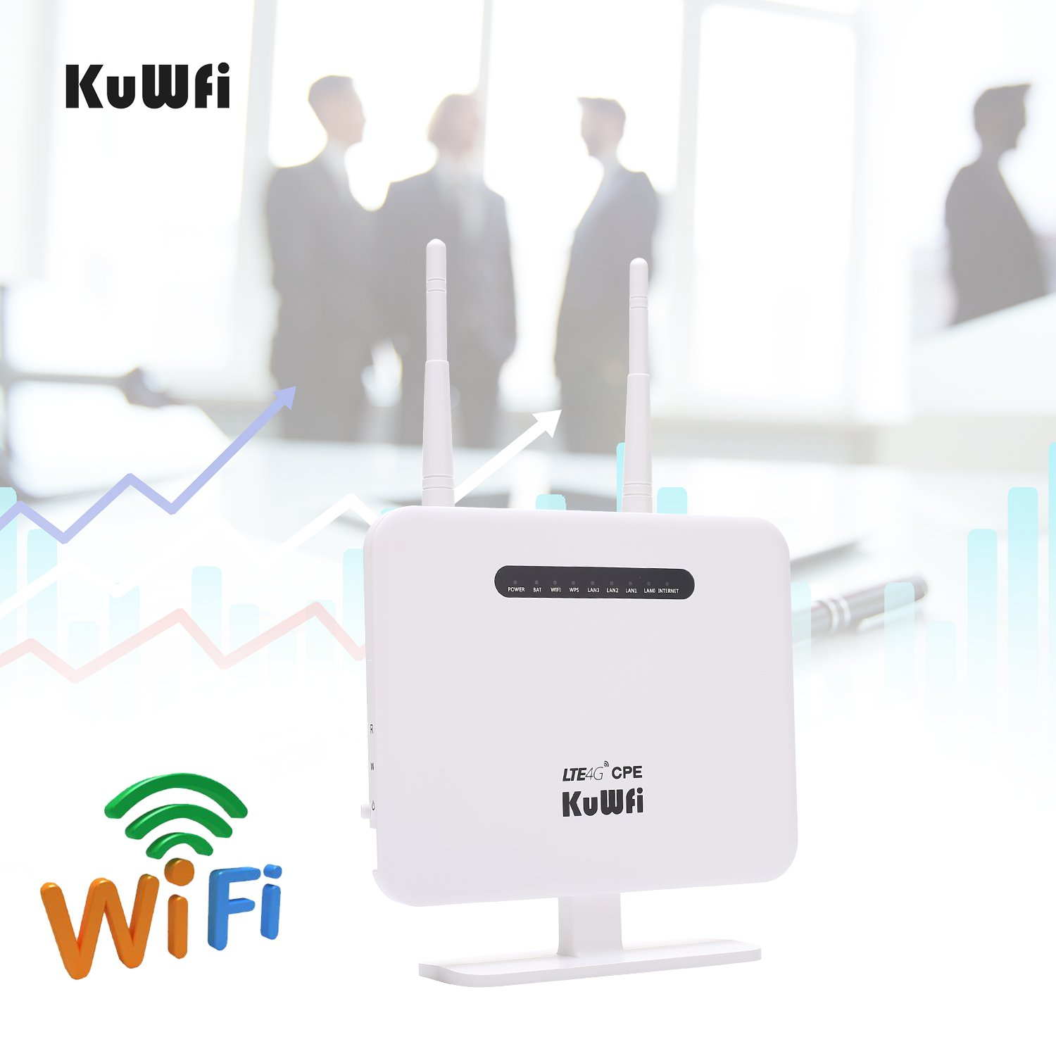 KuWFi US verison at&T/T Mobile 4G LTE CPE Router,300Mbps Unlocked 4G LTE CPE Wireless Router Antenna 3G 4G AP WiFi Router WFi Hotspot with SIM Card Solt for USA/CA/Mexico with B2/B4/B5 Network Band