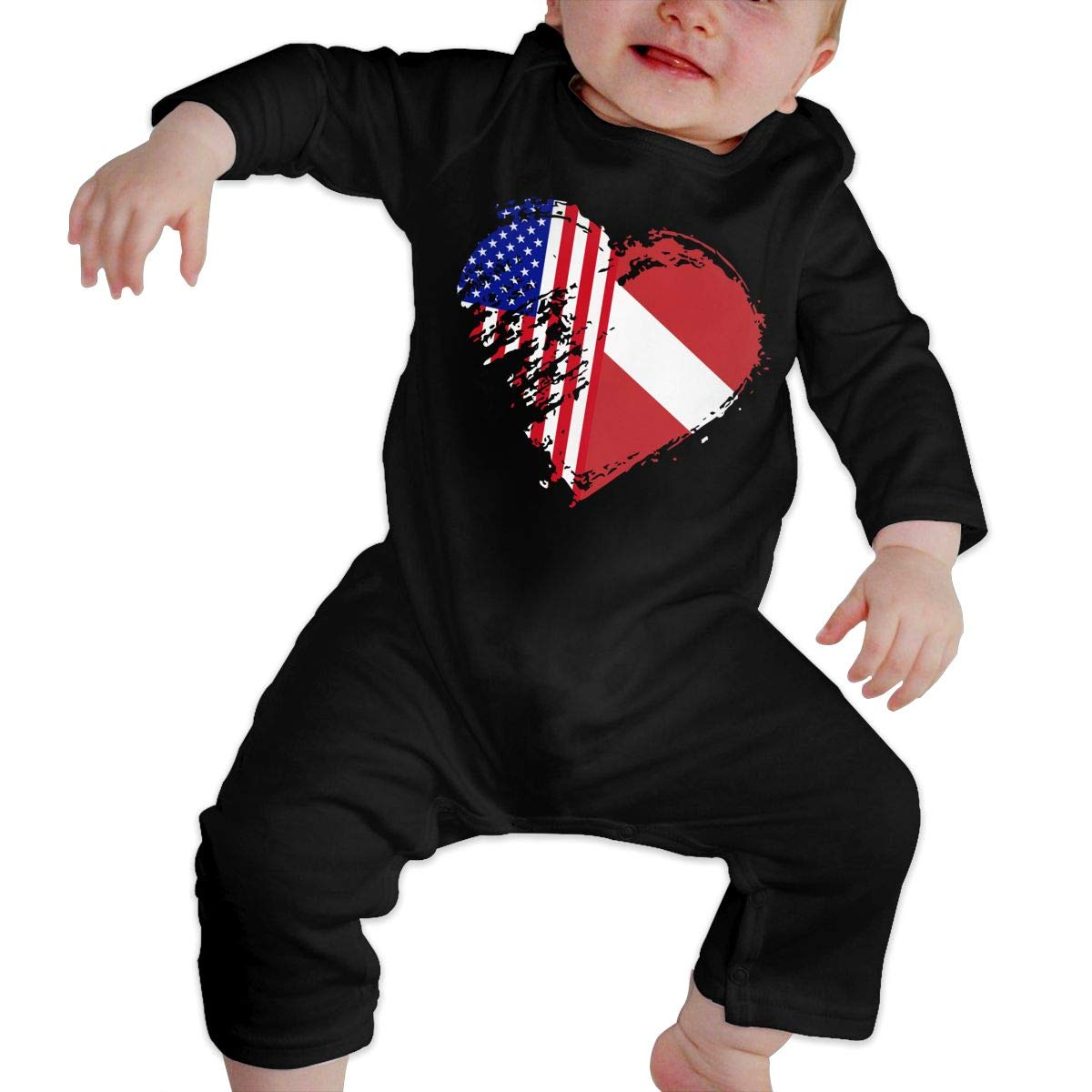 Mri-le1 Newborn Baby Long Sleeved Coveralls Grungy Dive American Flag Heart Kid Pajamas