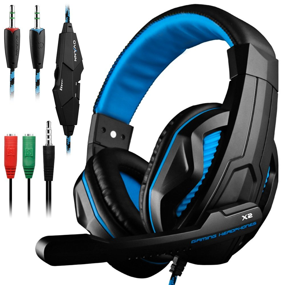 Gaming Headset,DLAND 3.5mm Wired Bass Stereo Noise Isolation Gaming Headphones with Mic for Laptop Computer, Cellphone, PS4 and so on- Volume Control (Black and Blue) by Dland