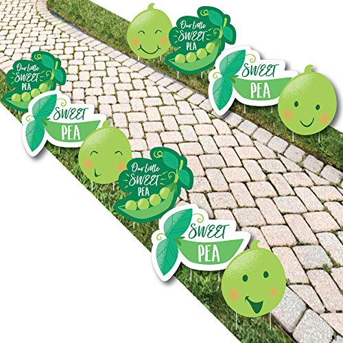 Sweet Pea in a Pod - Pea Pod Lawn Decorations - Outdoor Baby Shower or First Birthday Party Yard Decorations - 10 (Peapod Baby Shower Theme)