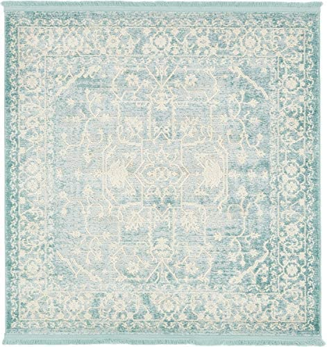 Unique Loom New Classical Collection Traditional Distressed Vintage Classic Light Blue Square Rug 4 0 x 4 0