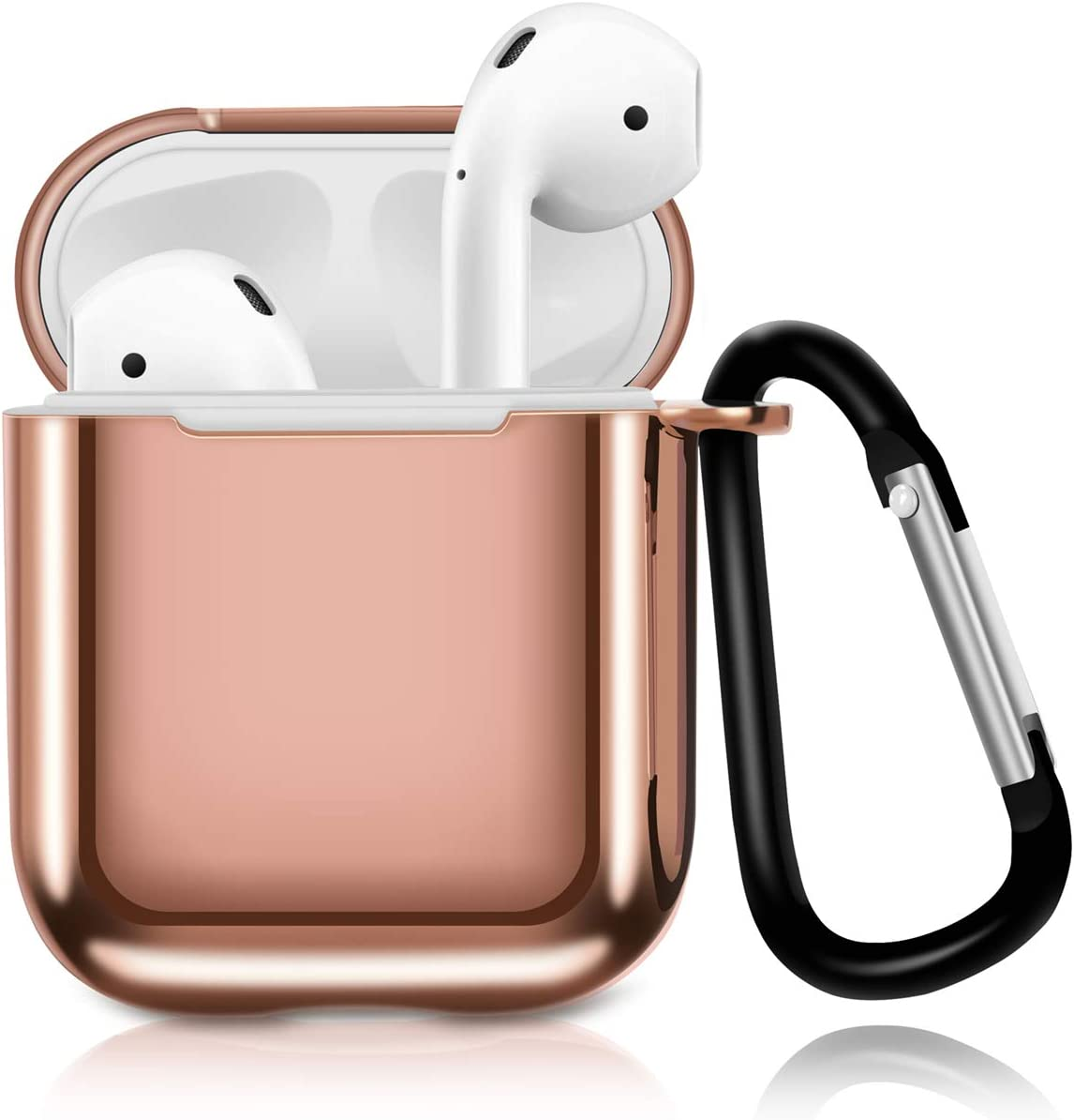 Solomo Compatible for AirPods Case Cover, Luxury Plating TPU Soft Skin Protective Case Shockproof Cover [Front LED Visible] with Keychain Carrying for Apple AirPods 1st / 2nd Charging Case (Rose Gold)