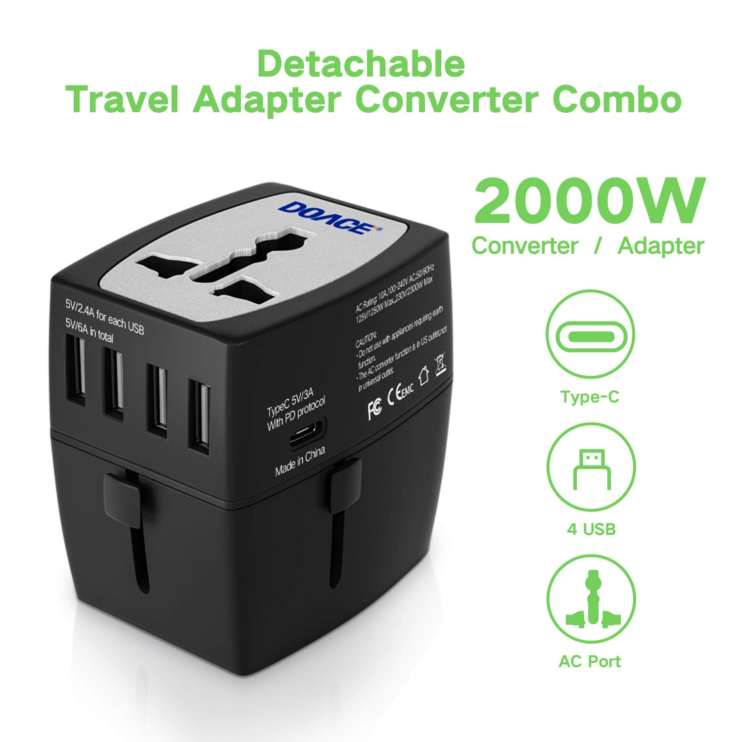 2019 Upgraded 2000W Travel Voltage Converter Step Down 220V to 110V, Travel Power Converters Adapter Combo 10A All in One UK/AU/US/EU with 4-USB Port/Type C PD Charger for Hair Dryer Steam Iron Laptop