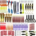 WSNDY Fishing Lure Set Baits Tackle Soft Fishing Lures, 123pcs Soft Plastic Lures Tackle Set for Freshwater Saltwater Bass Trout Salmon by WSNDY