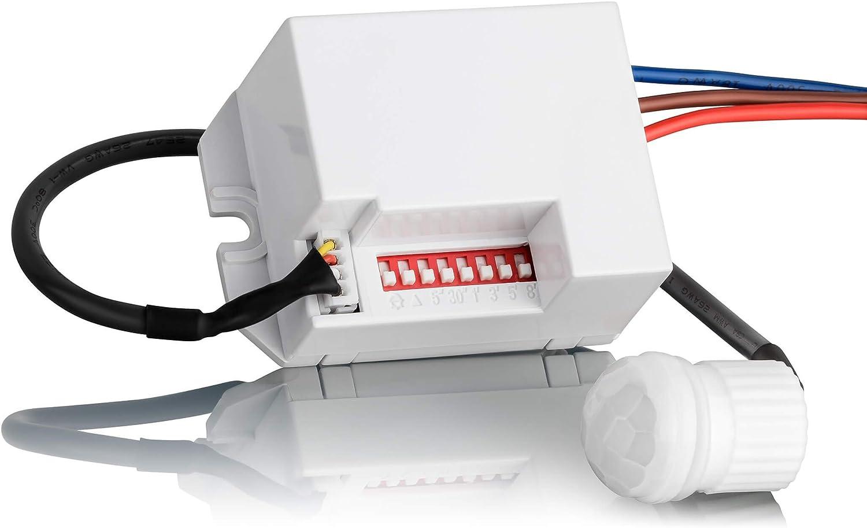 SEBSON® Mini Detector de Movimiento empotrable, Interior, Montaje en Pared, programable, Sensor de Infrarrojos, Alcance 6m/360°, LED Adecuado: Amazon.es: Bricolaje y herramientas