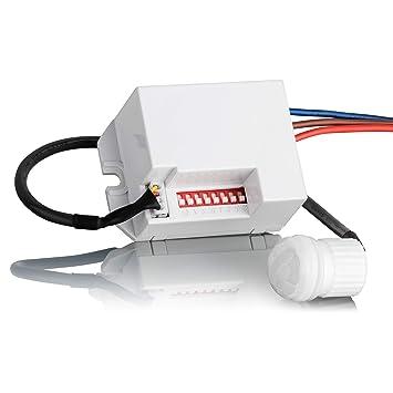Sebson® Mini Detector de Movimiento empotrable, Interior, Montaje en Pared, programable, Sensor de Infrarrojos, Alcance 6m/360°, LED Adecuado: Amazon.es: ...