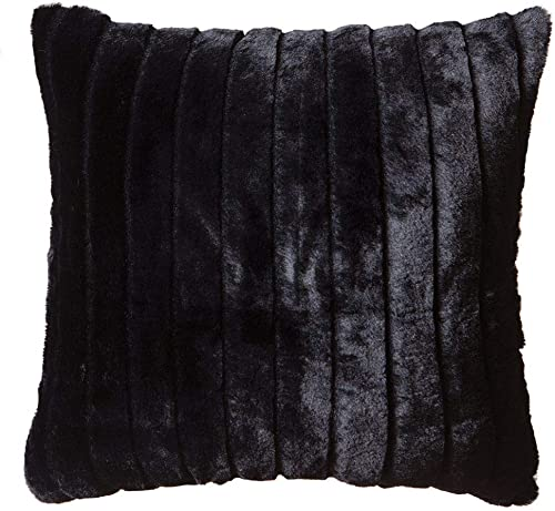 North End Decor Faux Fur 18 x18 with Insert, Black Striped Mink Throw Pillows, 18×18 Stuffed
