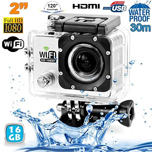 Camera sport wifi étanche caisson waterproof 12 MP Full HD Blanc 16Go