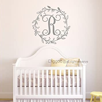 f00017d3f1a10 Amazon.com: Diggoo Wreath Monogram Wall Decal Personalized Name ...