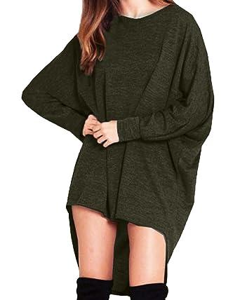 StyleDome Damen Lose Asymmetrisch Jumper Sweatshirt Pullover Bluse  Oberteile Oversize Tops- Gr. EU 36