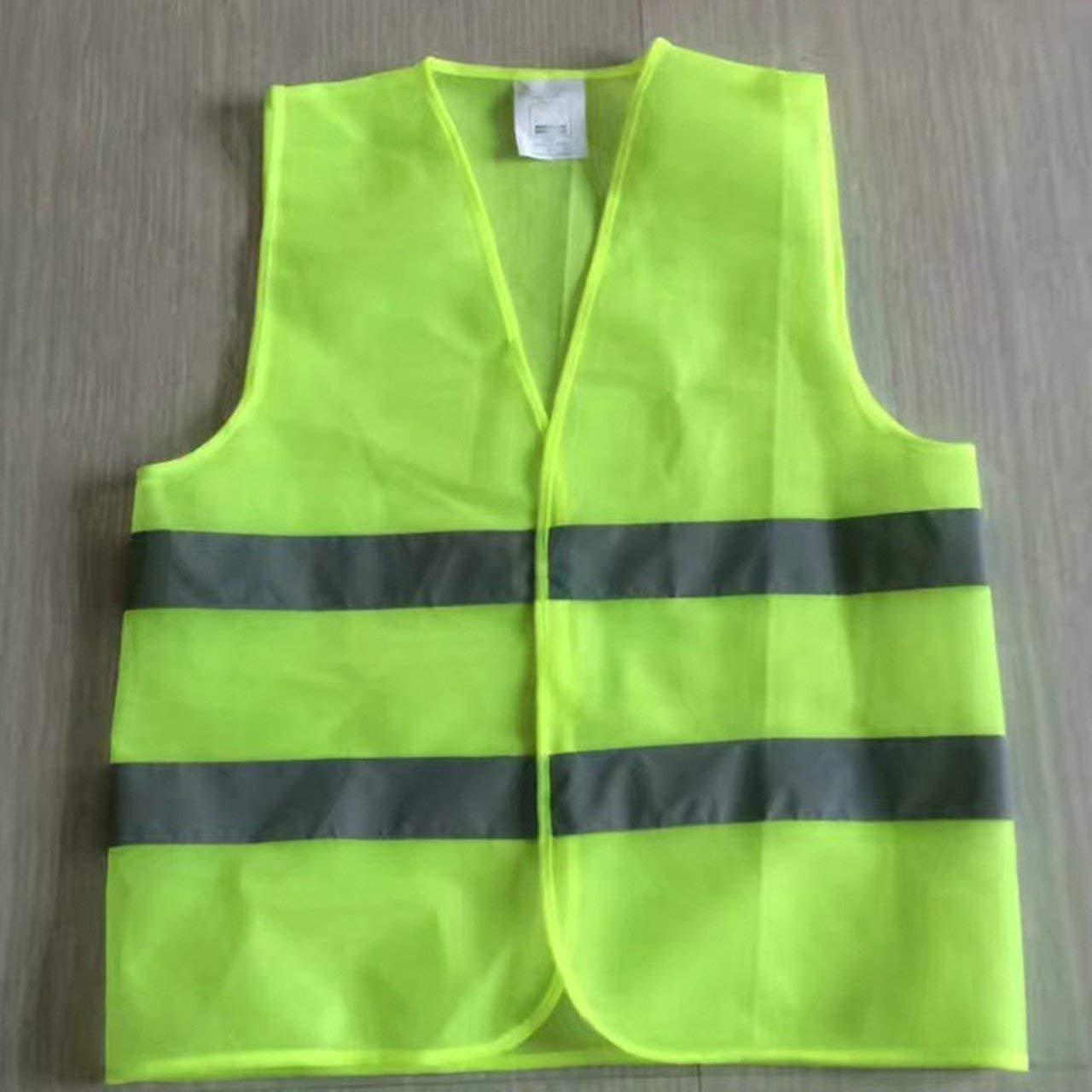 amarillo Chaleco reflectante de advertencia Ropa de trabajo Alta visibilidad D/ía Noche Chaleco protector para correr Ciclismo Seguridad vial ESjasnyfall