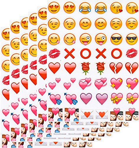 Emoji Sticker Pack - 288 of the Most Popular Smiles Hearts Hugs and Kisses Emoji stickers on 6 Pages - as seen on the iPhone, Twitter, Instagram, Facebook and more - Waterproof and Removable (Smile Hugs Hearts and Kisses)