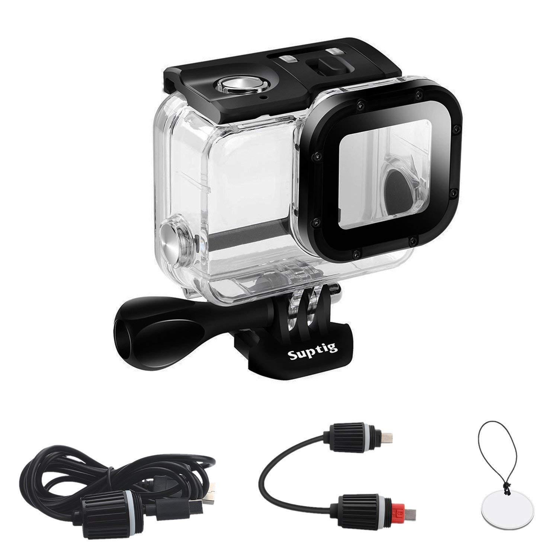 Suptigケース交換用防水ケース保護ハウジングGoPro Hero 6 GoPro Hero 5スポーツカメラ水中の充電使用防水最大164 ft ( 50 m )   B0774QGG1G