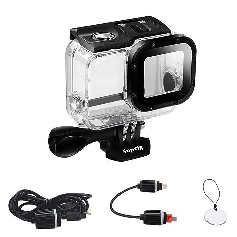 SupTig Caso Repuesto Funda Resistente al Agua Carcasa Protectora para GoPro Hero 6 GoPro Hero 5 Deporte cámara para Uso bajo el Agua Carga Resistente ...