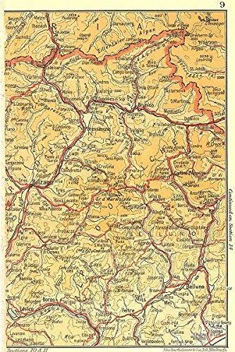 Amazon.com: ITALY. Dolomites Alpi Dolomitiche - 1953 - old map ... on