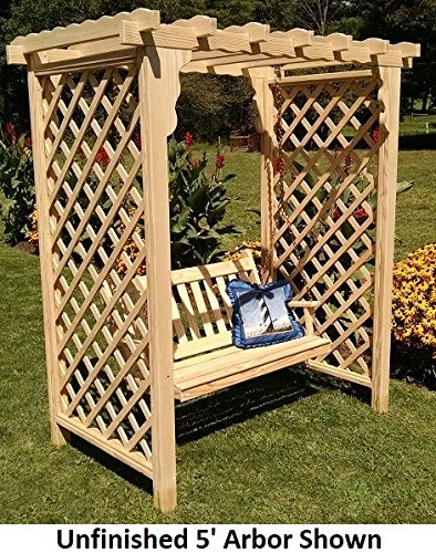 Backyard Crafts Amish-Made Covington Style Cedar Arbor with Swing - 5' Wide Walkthrough, Unfinished