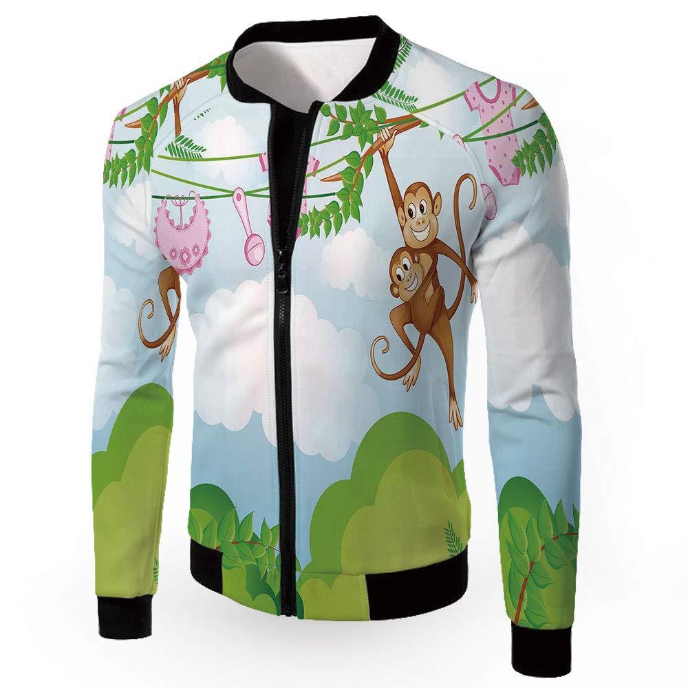 Multi14 XXLarge iPrint Bomber Biker Coat,Nursery,Men's Lightweight Zipup Windproof Windbreaker Jacket,