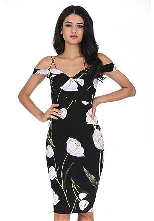 5d99abc75f47 AX Paris Women s Floral Off The Shoulder Midi Dress at Amazon ...