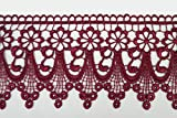 """Burgundy Maroon Dark Red 5/8""""~5-1/8"""" Embroidery Venice Lace Trim Guipure By Yard (UB004 (3"""