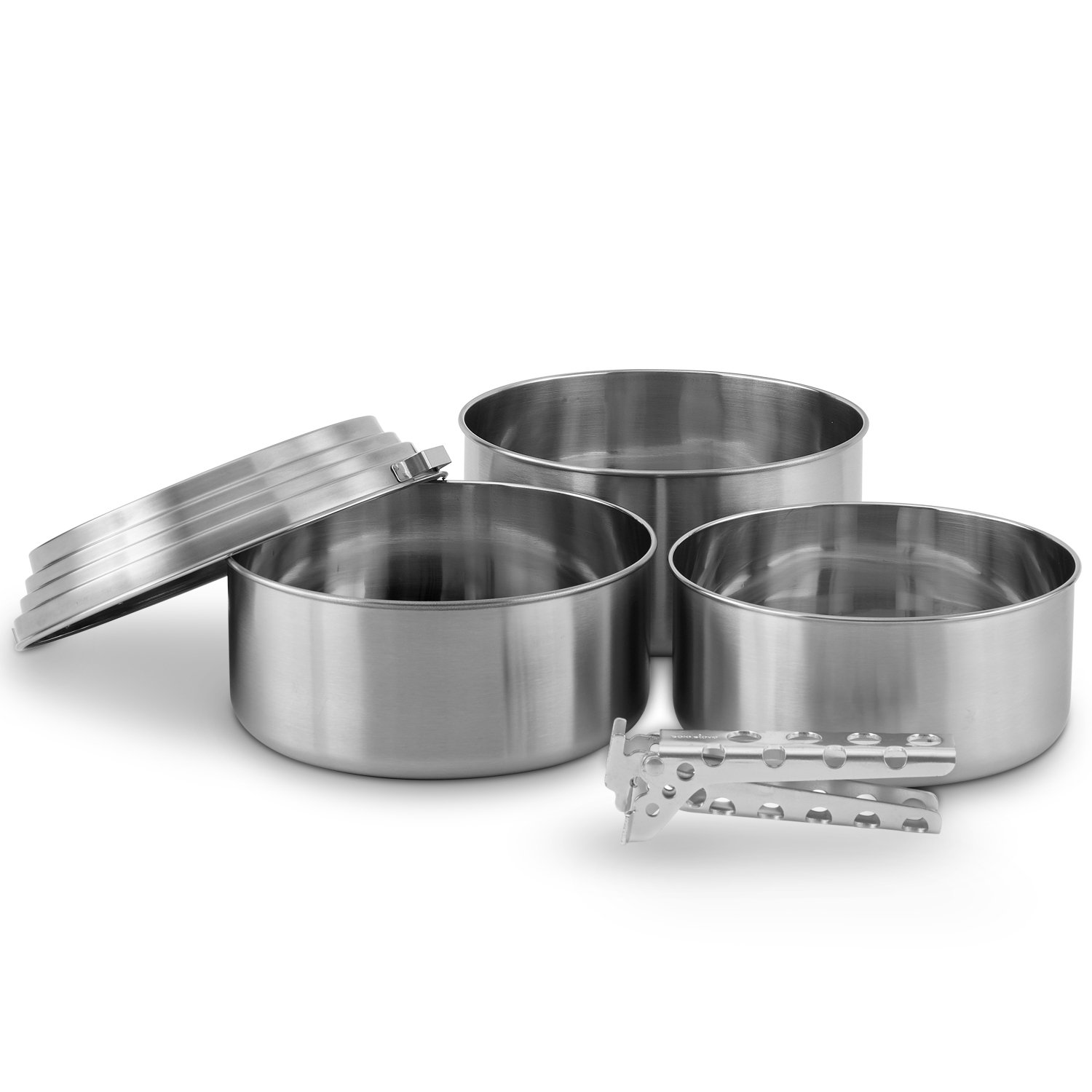 Solo Stove 3 Pot Set - Stainless Steel Camping Backpacking Cookware Kitchen Kit | Pot Gripper Included for Rocket Stove Camp Cooking