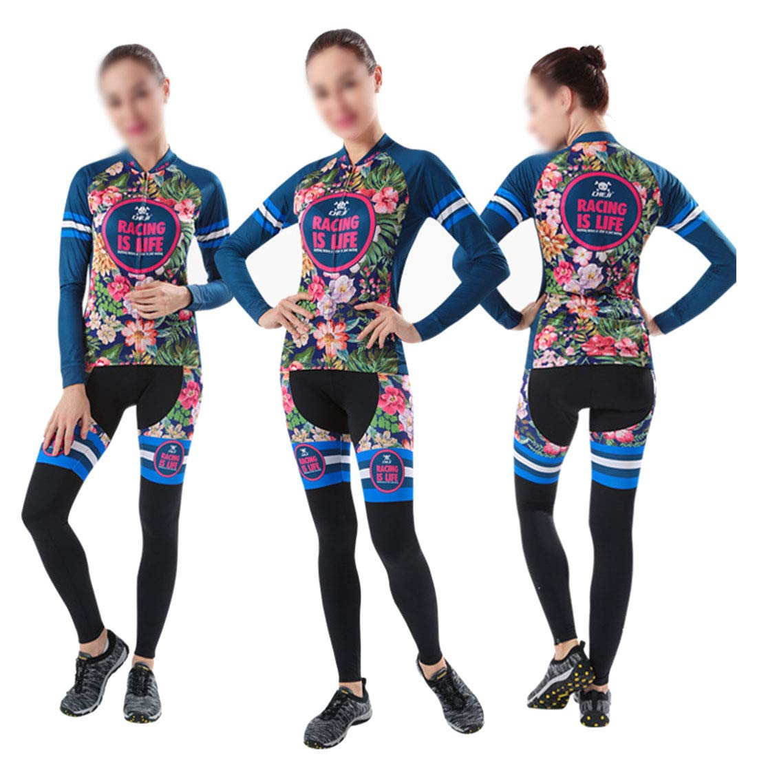 bluee Women's Cycling Clothing Set Outdoor Sport Bicycle Bike Suit Jerseys Pants