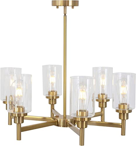 6 Light Vinluz Interior Chandelier Brushed Brass Classic Industrial Hanging Pendant Lighting Finish With Clear Glass Shades Fixtures For Living Room