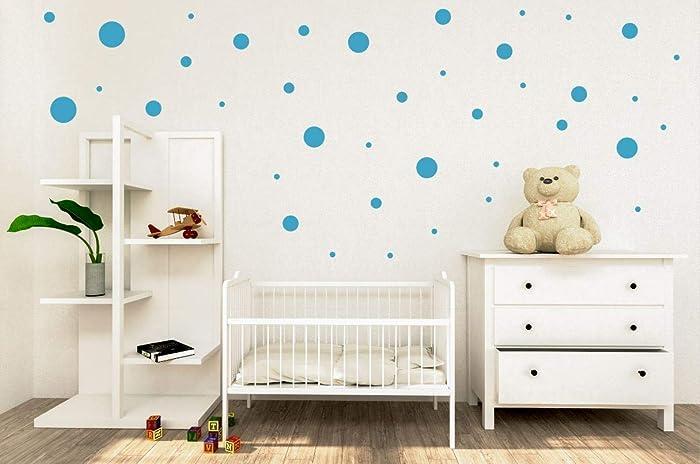 Amazon.com: Polka Dot Dots Wall Decals - Teal Vinyl - 24x12 ...