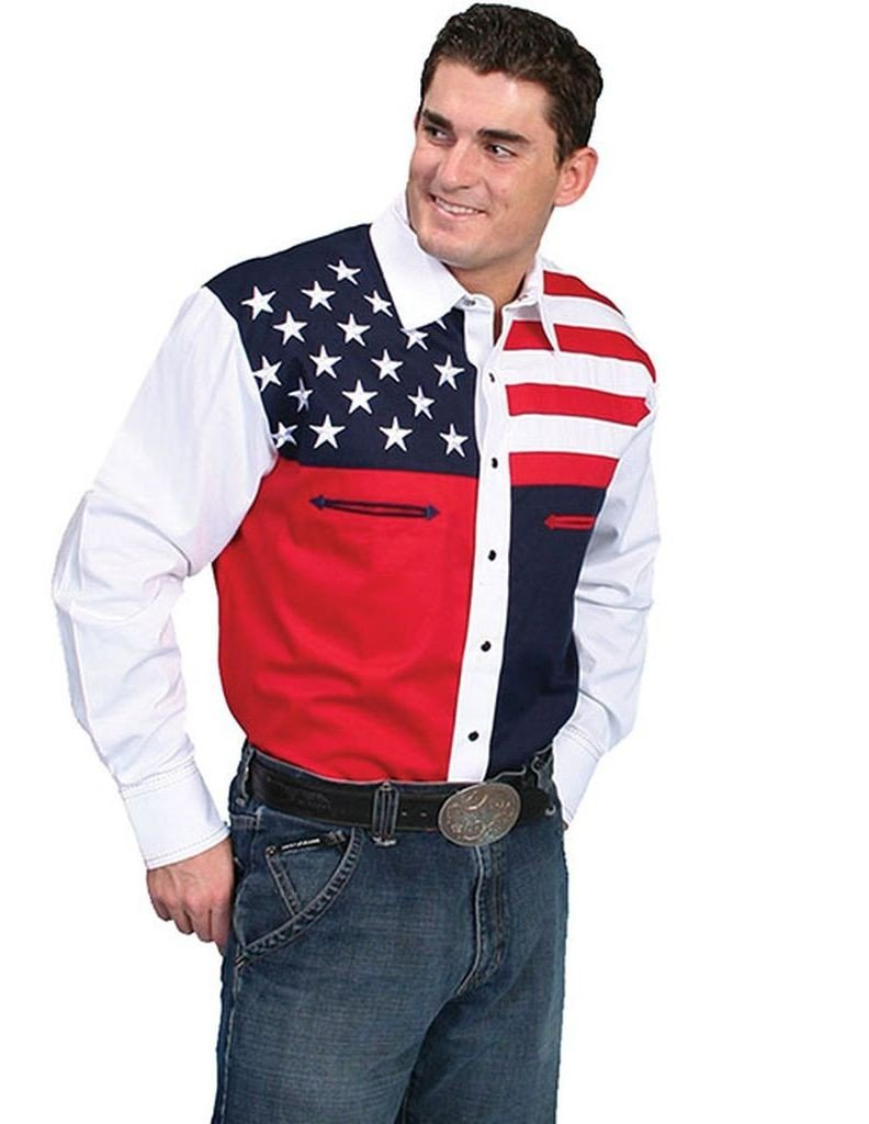 Scully Men's Patriotic American Flag Colorblock Western Shirt Blue Large