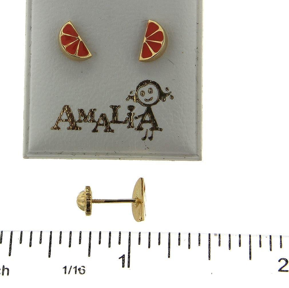 7mm X 4mm 18K YG Orange Earring wi// covered Screwbacks