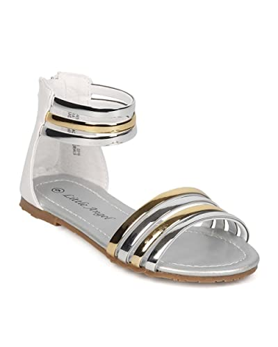 52a44f8420f40 Leatherette Open Toe Strappy Ankle Cuff Sandal (Toddler Little Girl Big Girl )